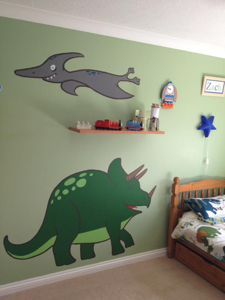 Zac's Mural - Pterosaur and Triceratops